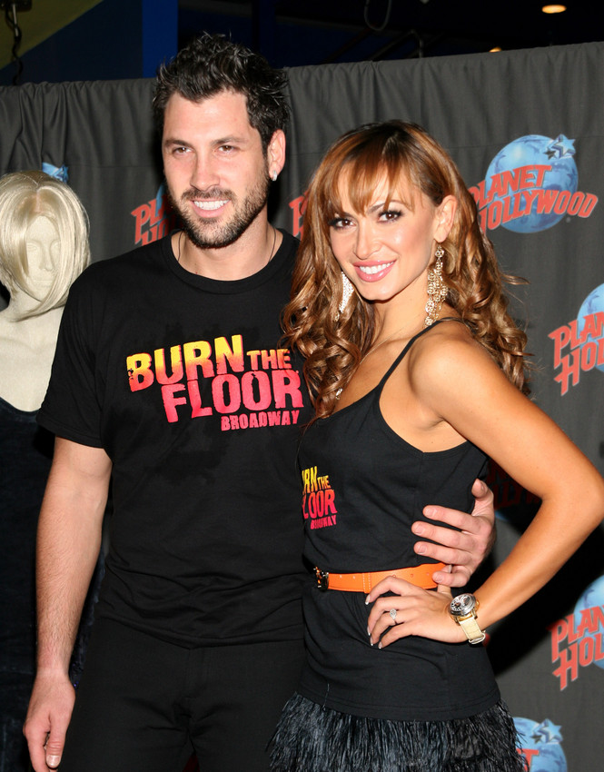 """Karina Smirnoff and Maksim Chmerkovskiy Footprint Ceremony to Promote """"Burn the Floor"""" at Planet Hollywood in New York on August 6, 2009"""