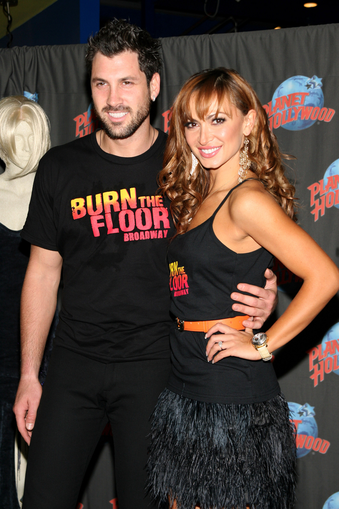 "Karina Smirnoff and Maksim Chmerkovskiy Footprint Ceremony to Promote ""Burn the Floor"" at Planet Hollywood in New York on August 6, 2009"